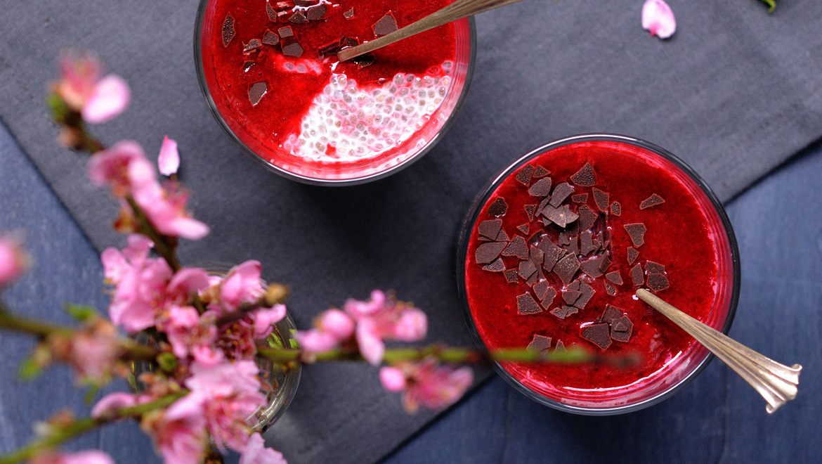chia pudding mit himbeerso e love nonpareille. Black Bedroom Furniture Sets. Home Design Ideas